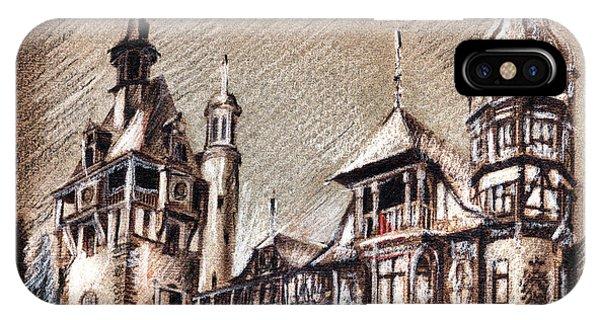 Peles Castle Romania Drawing IPhone Case