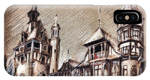 Peles Castle Romania Drawing IPhone Case