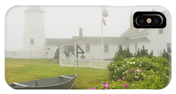 Pemaquid Point Lighthouse In Fog Maine Prints IPhone Case