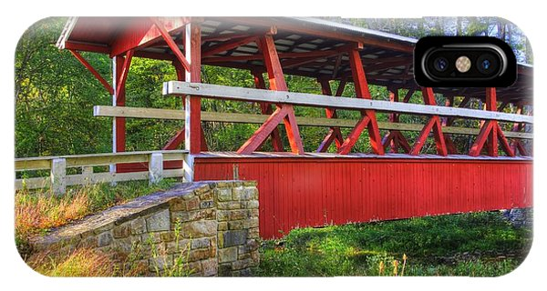 Pennsylvania Country Roads - Colvin Covered Bridge Over Shawnee Creek - Autumn Bedford County IPhone Case