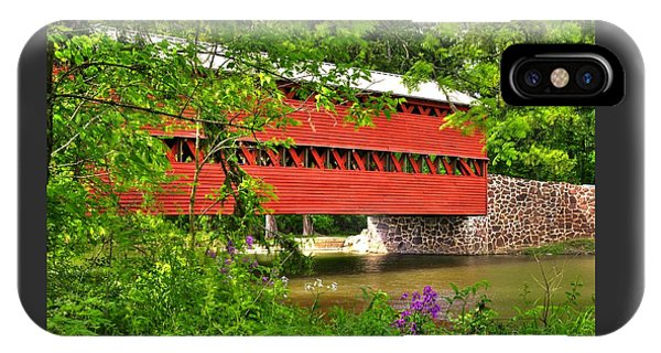 Pennsylvania Country Roads - Sachs Covered Bridge Over Marsh Creek-3b - Shade Of Spring Adams County IPhone Case