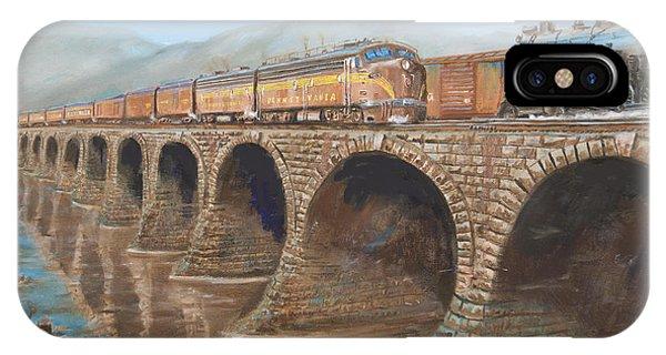 Passenger Train iPhone Case - Pennsylvania Railroad On The Rockville Bridge by Christopher Jenkins