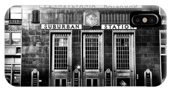 Pennsylvania Railroad Suburban Station In Black And White IPhone Case