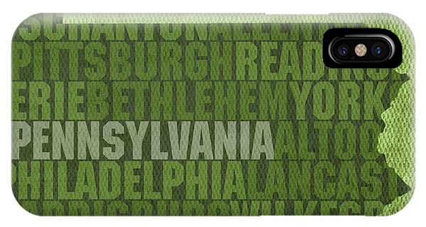 Pennsylvania Word Art State Map On Canvas IPhone Case