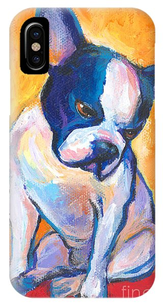 Russian Impressionism iPhone Case - Pensive Boston Terrier Dog  by Svetlana Novikova