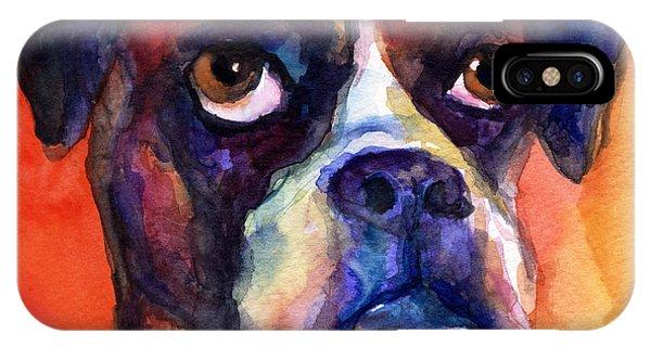 Watercolor Pet Portraits iPhone Case - pensive Boxer Dog pop art painting by Svetlana Novikova