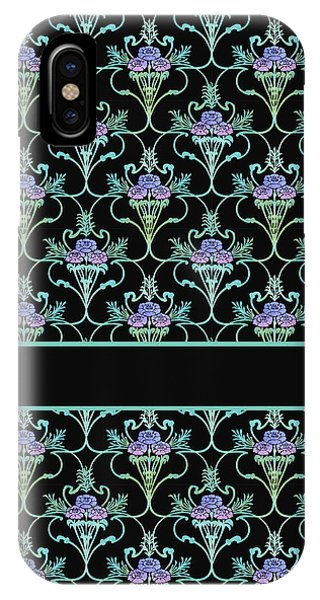 Teal iPhone Case - Peony Damask On Black by Jenny Armitage
