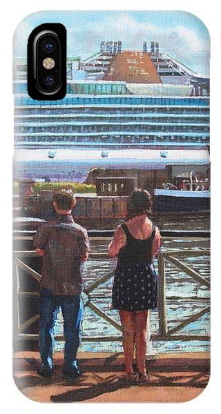 People At Southampton Eastern Docks Viewing Ship IPhone Case