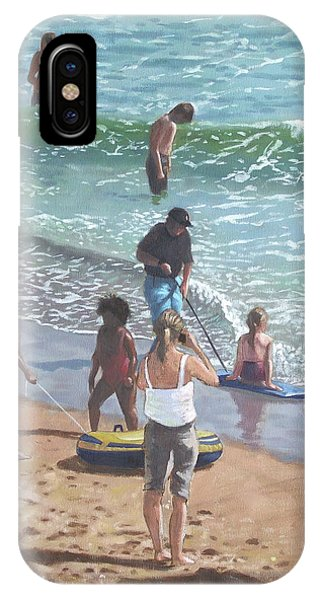 Bournemouth iPhone Case - people on Bournemouth beach pulling dingys by Martin Davey
