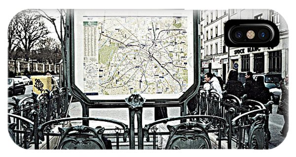 Paris Metro iPhone Case - Paris Pere Lachaise Metro Station Map And Pere Lachaise Art Nouveau Architecture by Kathy Fornal