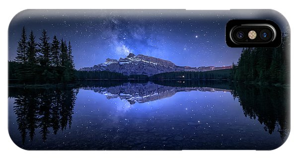 Banff iPhone Case - Perfect Two Jack Lake Reflection by Jes??s M. Garc??a