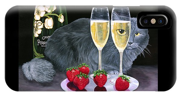 IPhone Case featuring the painting Perrier Jouet Et Le Chat by Karen Zuk Rosenblatt
