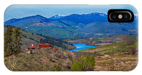 IPhone Case featuring the painting Perrygin Lake In The Methow Valley Landscape Art by Omaste Witkowski