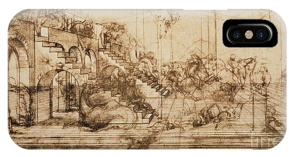 Interior iPhone Case - Perspective Study For The Background Of The Adoration Of The Magi by Leonardo da Vinci