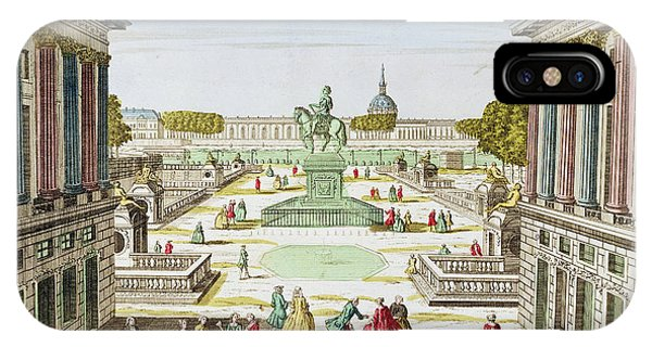 Concorde iPhone Case - Perspective View Of Place Louis Xv From Porte Saint-honore Coloured Engraving by French School