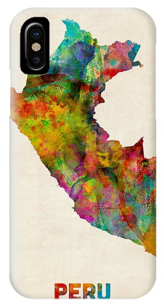 Print iPhone Case - Peru Watercolor Map by Michael Tompsett