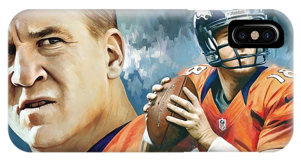 Football iPhone Case - Peyton Manning Artwork by Sheraz A