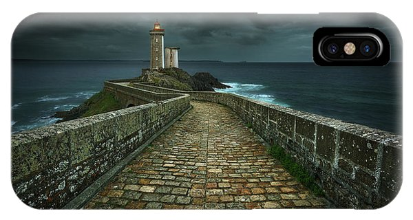 Night iPhone Case - Phare... by Krzysztof Browko