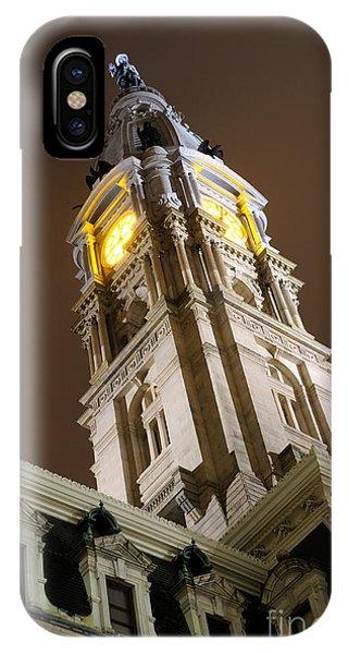 Philadelphia City Hall Clock Tower At Night IPhone Case