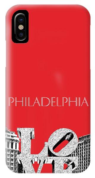 Philadelphia Skyline Love Park - Red IPhone Case