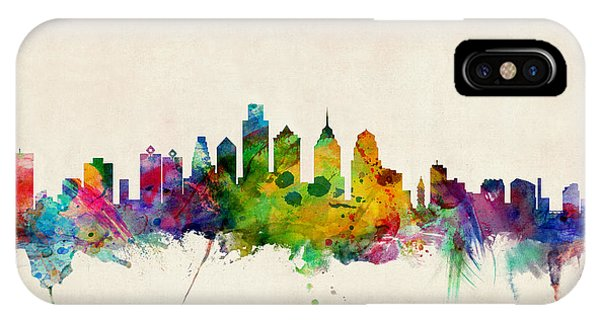 Watercolour iPhone Case - Philadelphia Skyline by Michael Tompsett