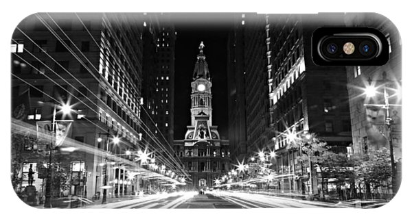 Philadephia City Hall -- Black And White IPhone Case