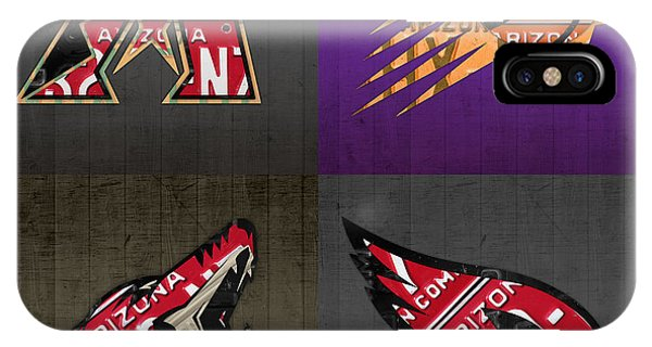 Phoenix Sports Fan Recycled Vintage Arizona License Plate Art Diamondbacks Suns Coyotes Cardinals IPhone Case
