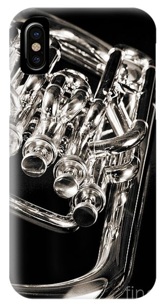 Photograph Of A Music Tuba Brass Instrument In Sepia 3284.01 IPhone Case