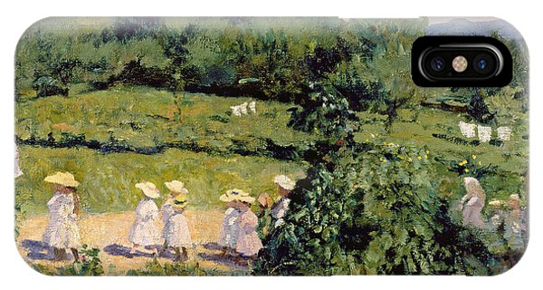 Crocodile iPhone Case - Picnic In May, Summer Day, 1906 by Karoly Ferenczy