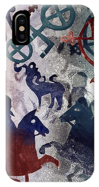 Horseman iPhone Case - Pictish Riders, 1996 Monotype by Gloria Wallington