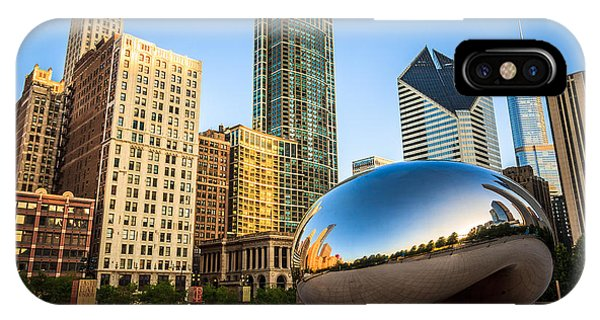 Skyline iPhone Case - Picture Of Cloud Gate Bean And Chicago Skyline by Paul Velgos