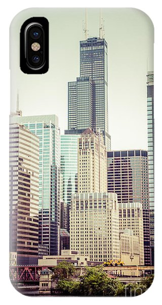 Skyline iPhone Case - Picture Of Vintage Chicago With Sears Willis Tower by Paul Velgos