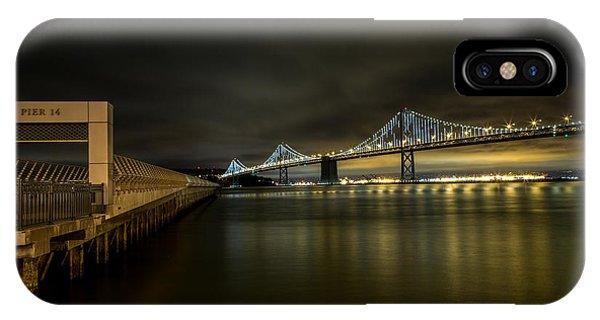 Pier 14 And Bay Bridge At Night IPhone Case