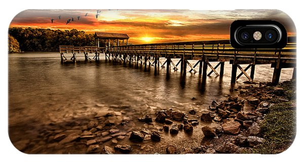 Water iPhone Case - Pier At Smith Mountain Lake by Joshua Minso