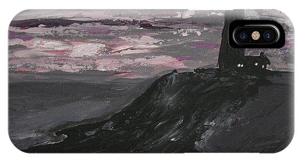 Pigeon Lighthouse Impasto Sunset Monochromatic IPhone Case