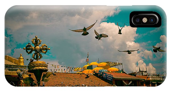 Pigeons Near Monastery In Boudnath Kathmandu IPhone Case