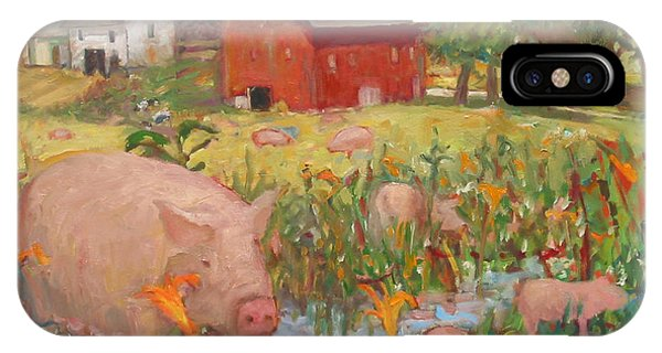 Pigs And Lilies IPhone Case
