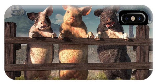 Pigs On A Fence IPhone Case