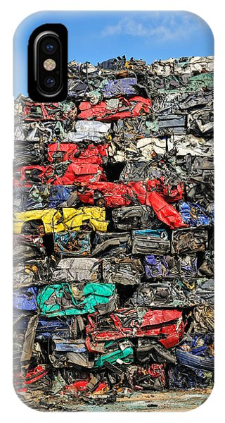 Pile Of Scrap Cars On A Wrecking Yard IPhone Case
