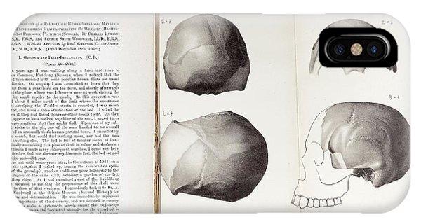 Piltdown Man Skull And Paper IPhone Case