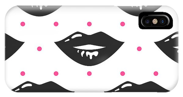 Humor iPhone Case - Pin Up Girl Style Wet Black Lipstick by Yopixart