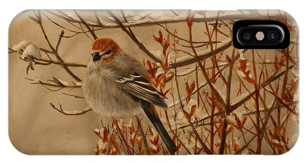 IPhone Case featuring the painting Pine Grosbeak by Tammy Taylor