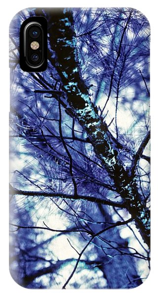 Pine Trees Redux In Blue IPhone Case