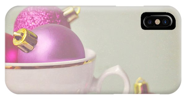 Pink And Gold Christmas Baubles In China Cup. IPhone Case