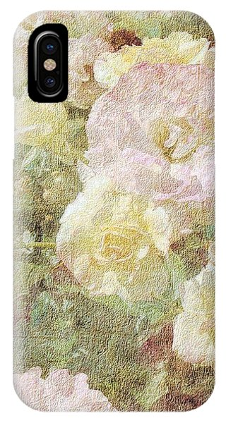Pink And White Roses With Tapestry Look IPhone Case
