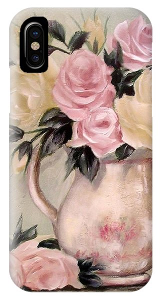 Pink And Yellow Roses In Teapot Painting IPhone Case