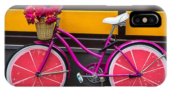 Bicycle iPhone X Case - Pink Bike by Garry Gay