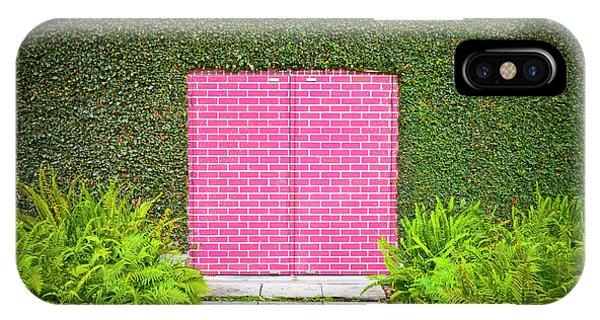 Garden Wall iPhone Case - Pink Brick Door by David Jordan Williams