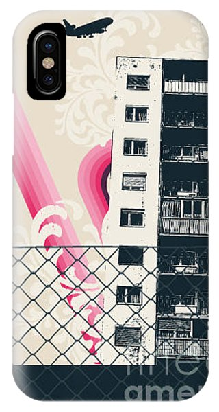 Funky iPhone Case - Pink City Poster by Sengerg