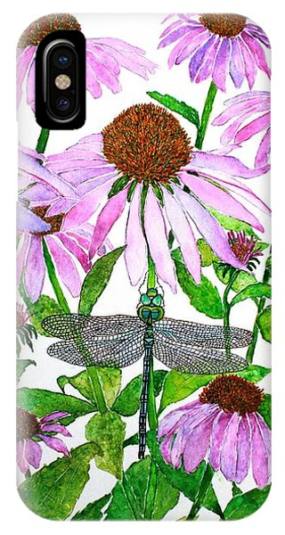 Pink Cone Flowers And Dragonfly IPhone Case